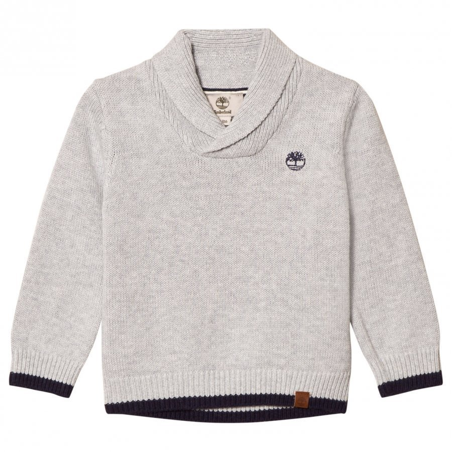 Timberland Grey Shawl Collar Branded Sweater Paita