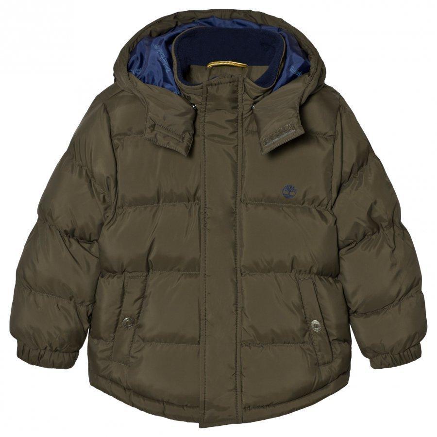 Timberland Hooded Puffer Jacket Khaki Toppatakki