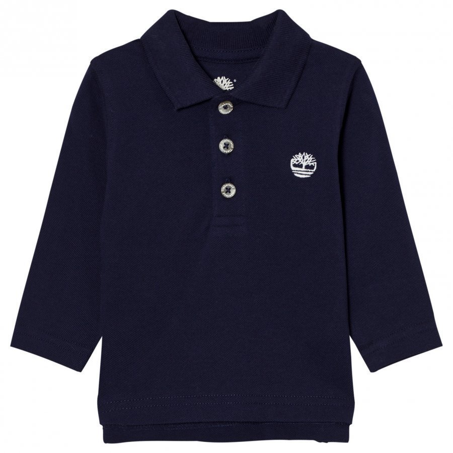 Timberland Navy Branded Long Sleeve Pique Polo Pikeepaita
