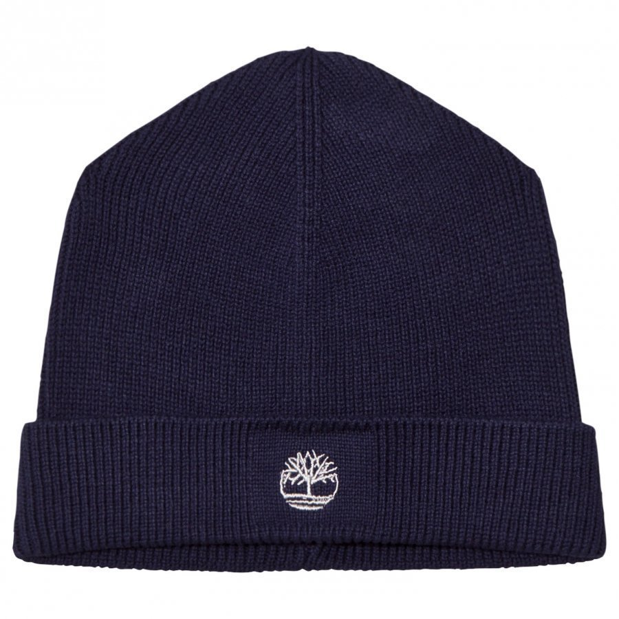 Timberland Navy Knit Branded Beanie Pipo