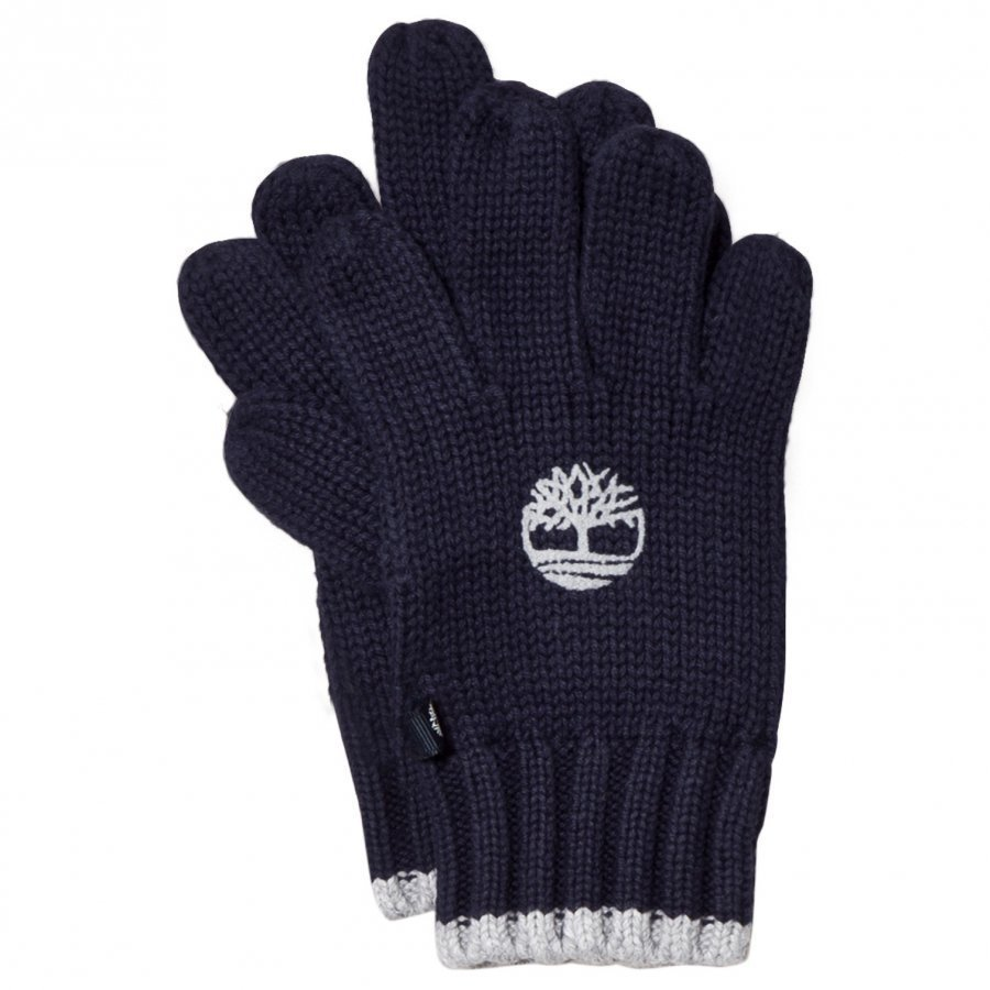 Timberland Navy Knit Branded Gloves Villahanskat