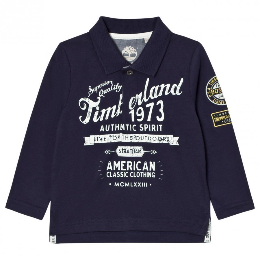 Timberland Navy Printed Branded Long Sleeve Polo Pikeepaita