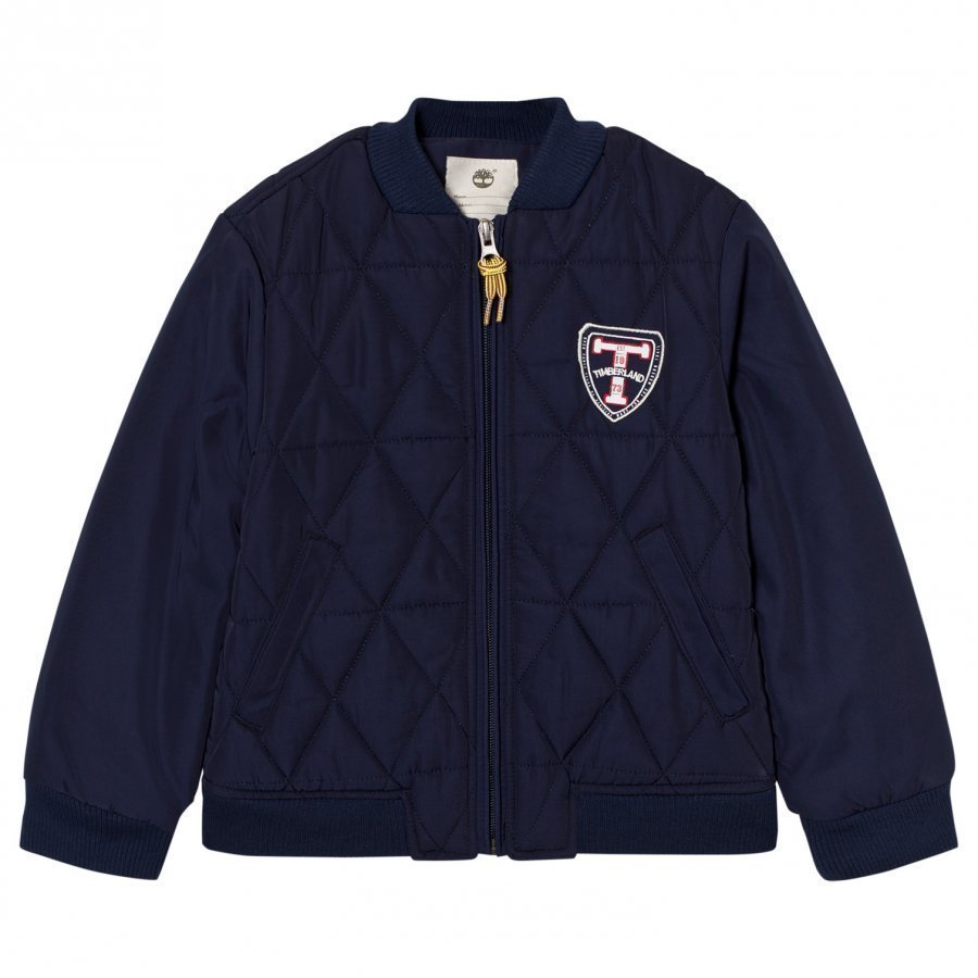 Timberland Navy Quilted Bomber Jacket Bomber Takki