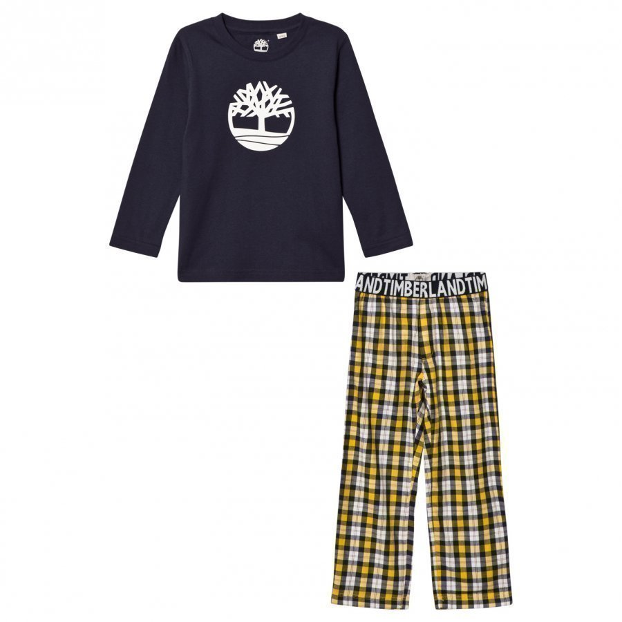 Timberland Navy/Yellow Check Branded Pyjamas Yöpuku
