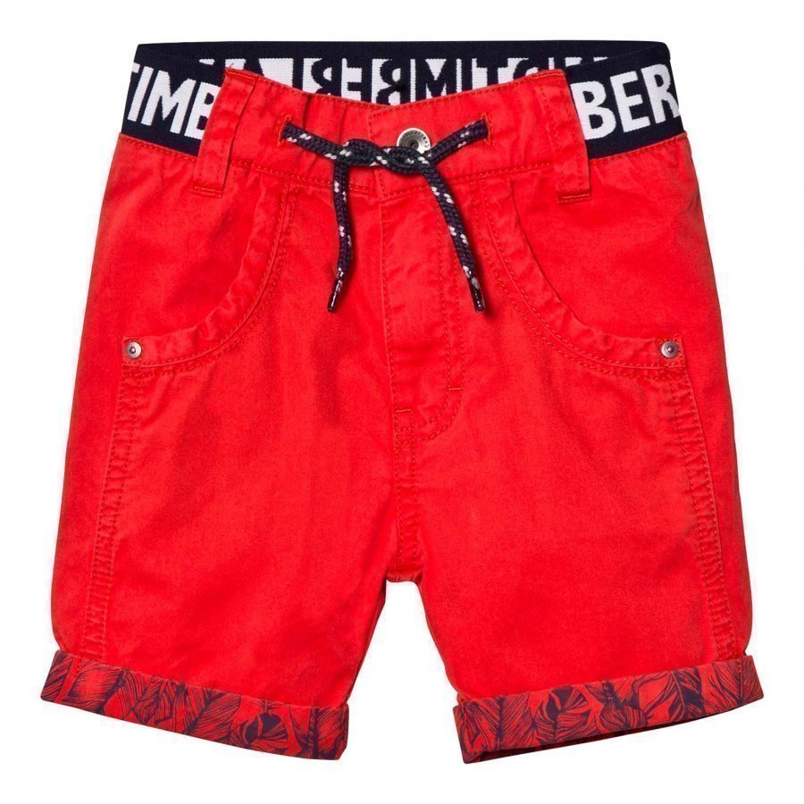 Timberland Red Branded Cotton Turn Up Shorts Juhlashortsit