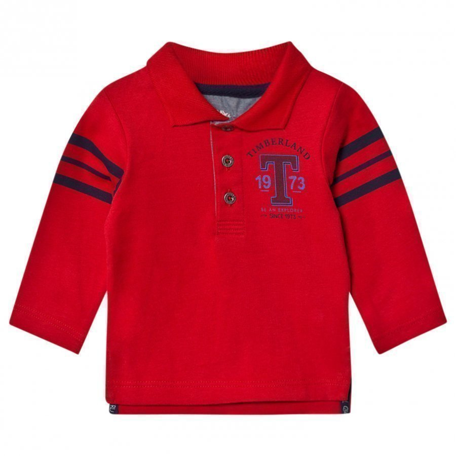 Timberland Red Jersey Letter Long Sleeve Polo Pikeepaita