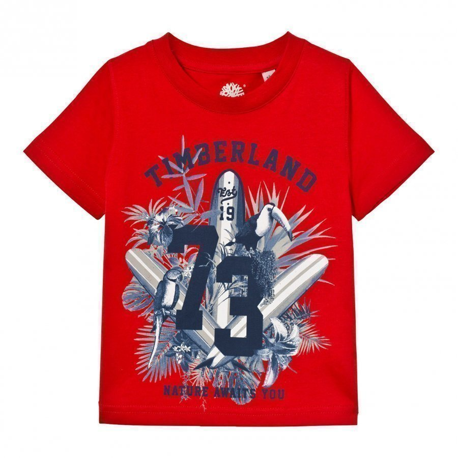 Timberland Red Surf Board Graphic Tee T-Paita