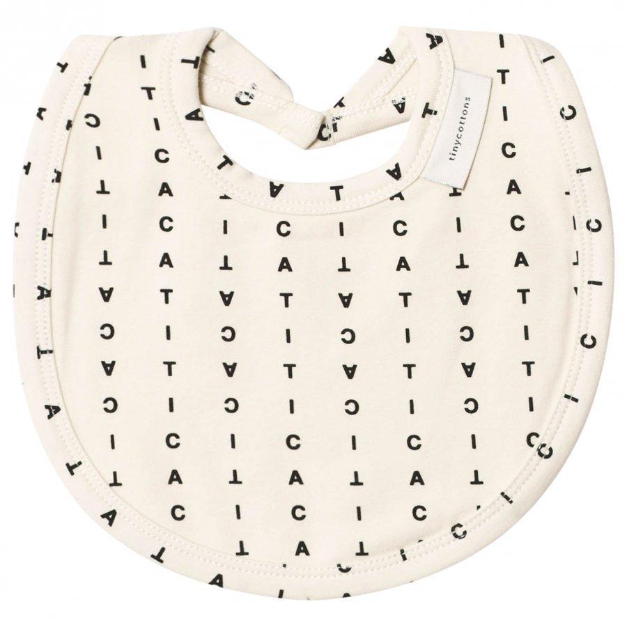 Tinycottons Alphabet Soup Bib Beige/Black Ruokalappu