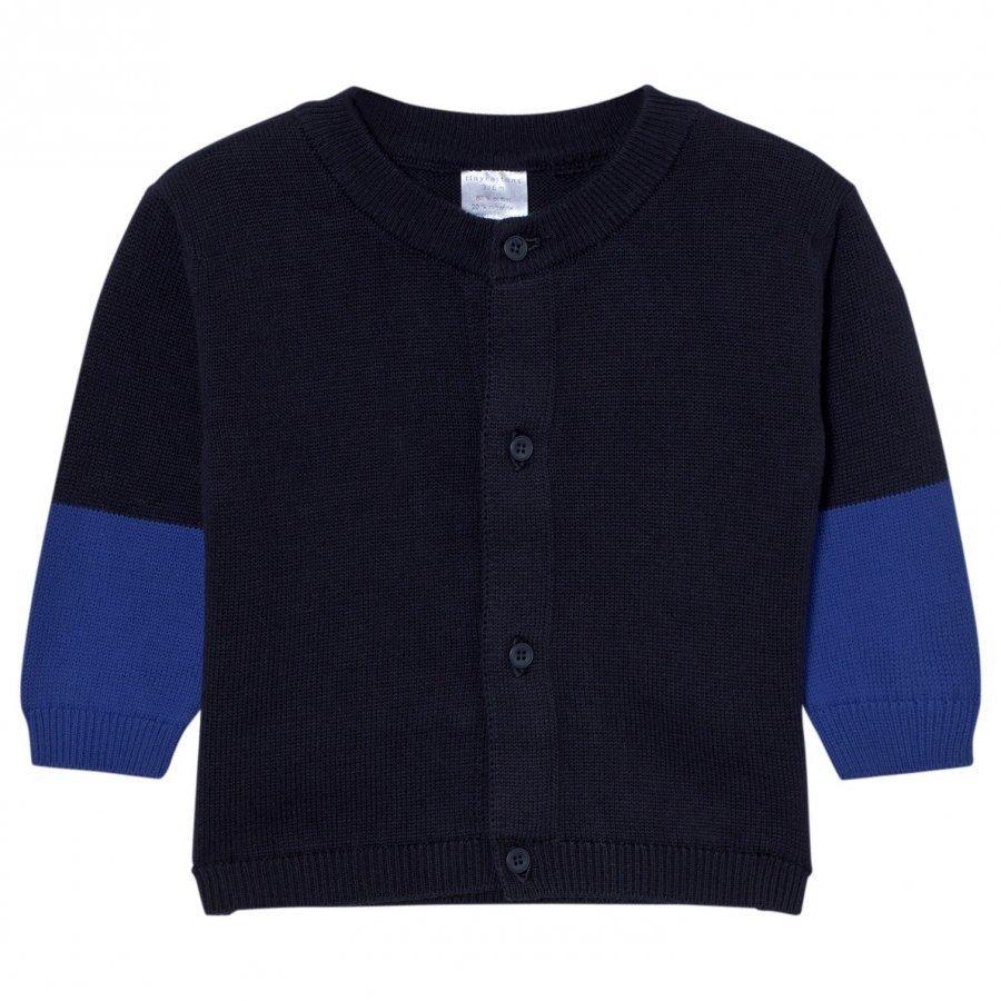 Tinycottons Color Block Baby Cardigan Dark Navy/Blue Neuletakki
