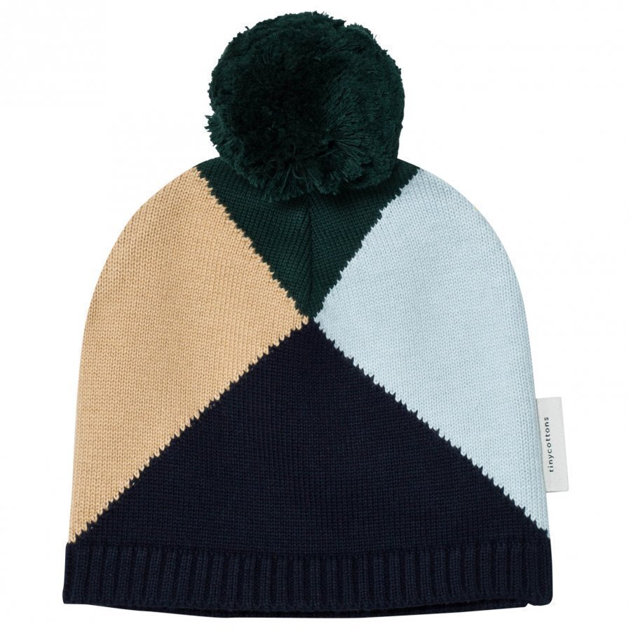 Tinycottons Geometric Beanie Navy/Light Blue/Nude/Dark Green Pipo
