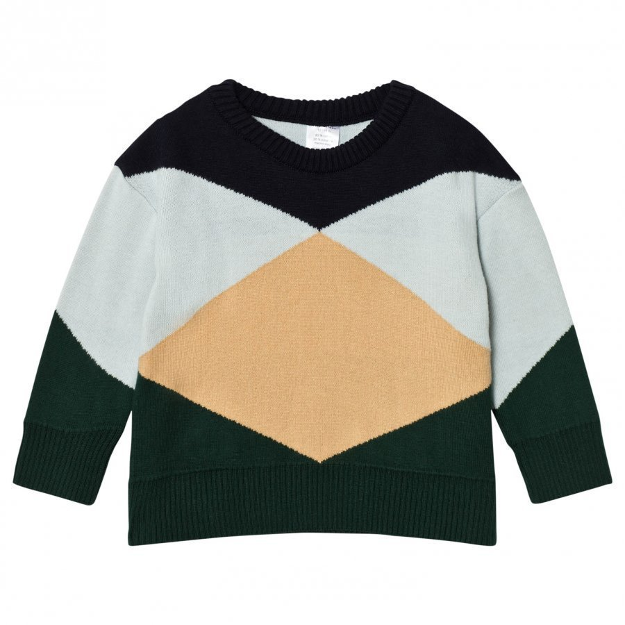 Tinycottons Geometric Sweater Dark Navy/Light Blue/Nude/Dark Green Oloasun Paita