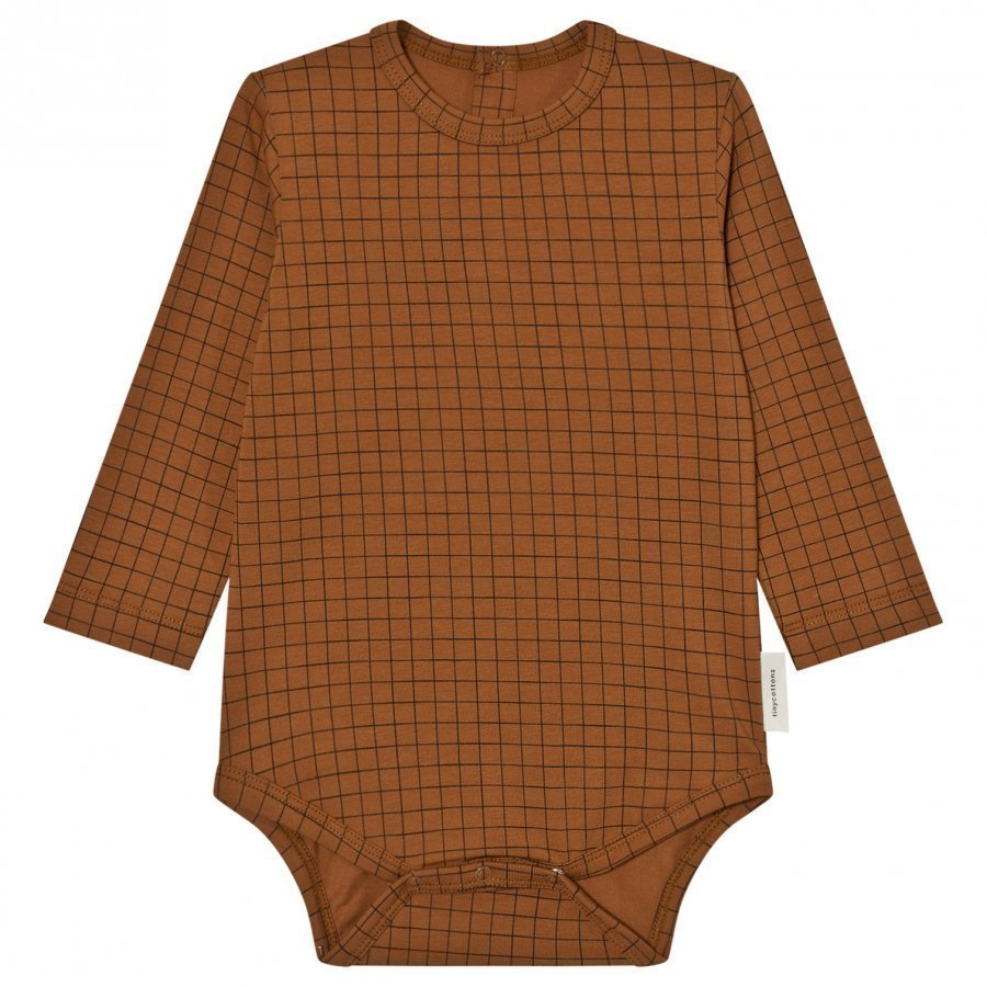 Tinycottons Grid Long Sleeve Baby Body Brown/Black Body