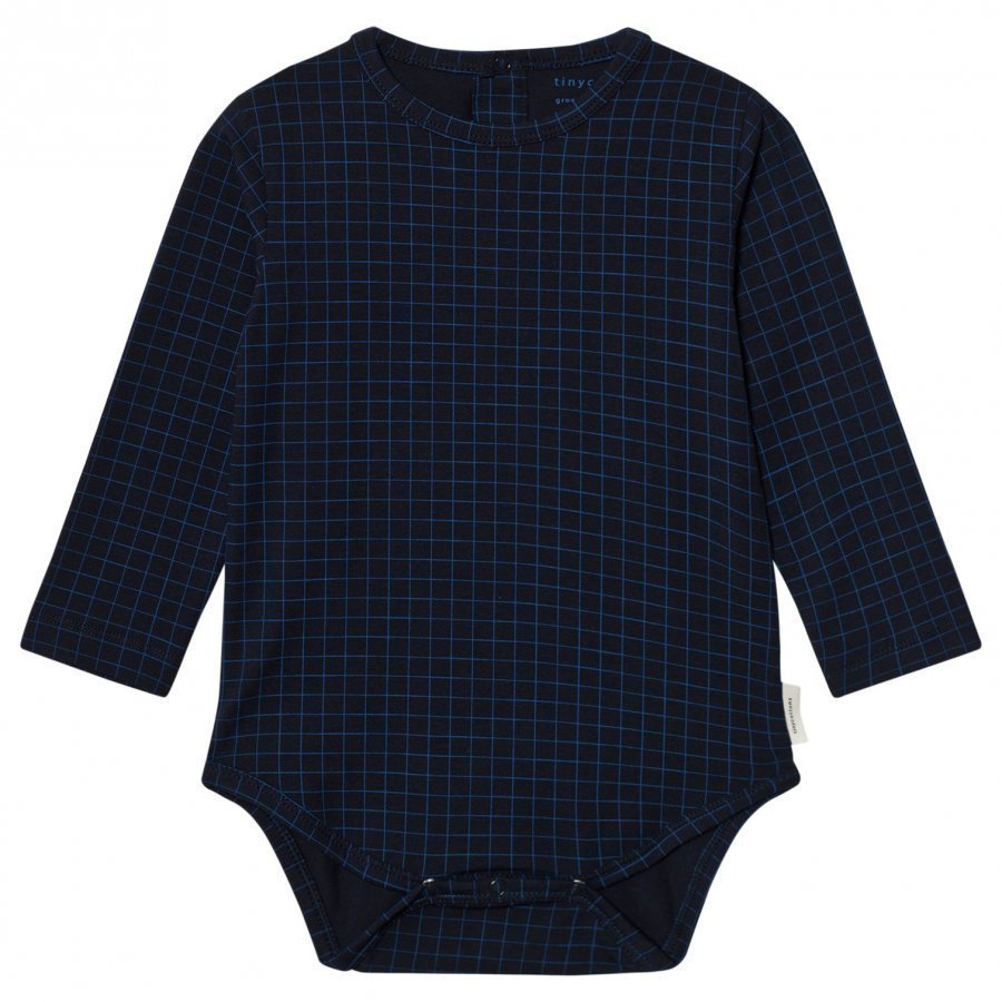 Tinycottons Grid Long Sleeve Baby Body Dark Navy/Blue Body