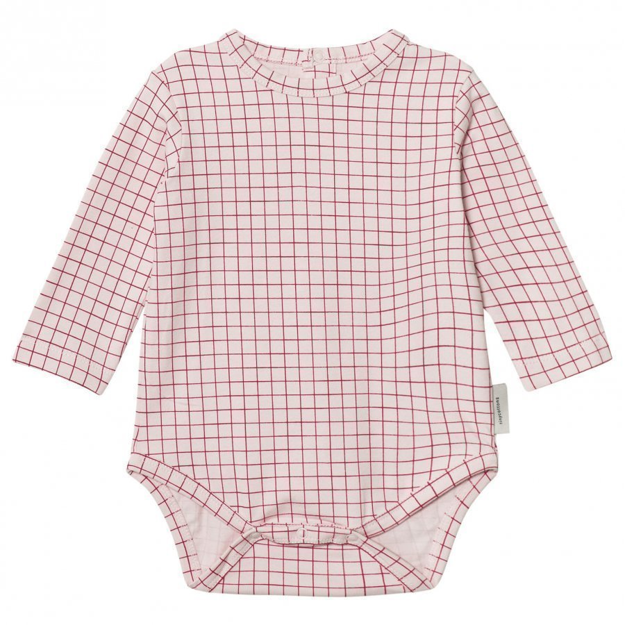 Tinycottons Grid Long Sleeve Baby Body Pale Pink/Red Body