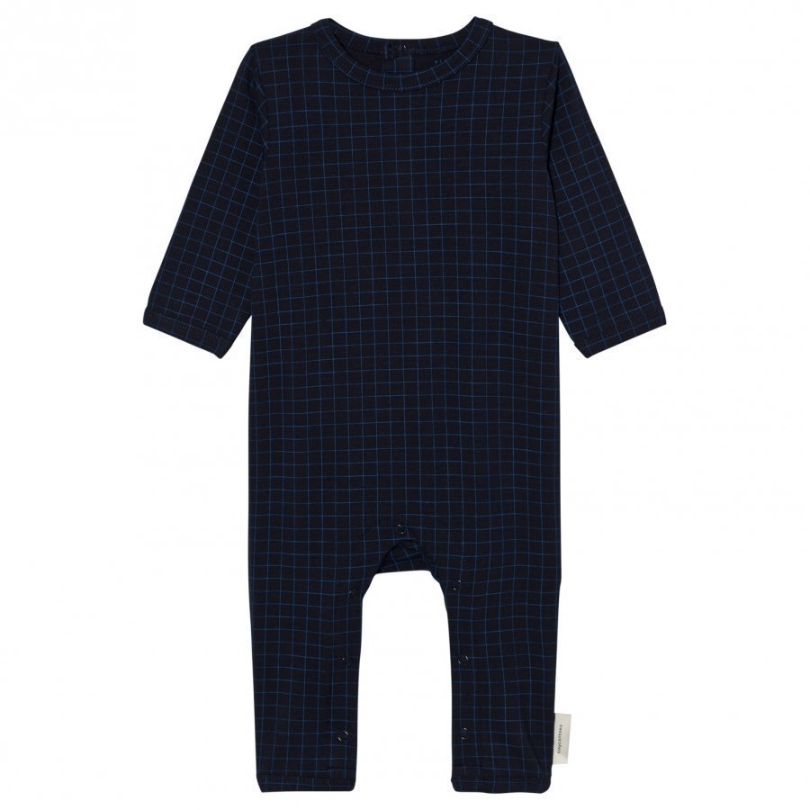 Tinycottons Grid One-Piece Dark Navy/Blue Potkupuku