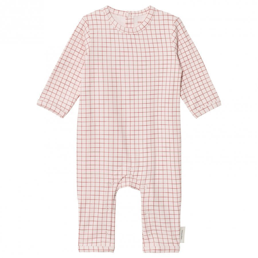 Tinycottons Grid One-Piece Pale Pink/Red Potkupuku