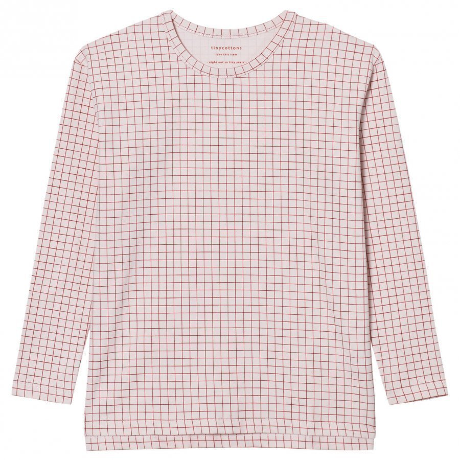 Tinycottons Grid Relaxed Tee Pale Pink/Red Pitkähihainen T-Paita