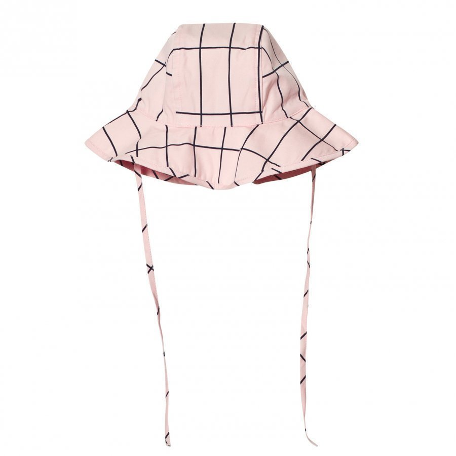 Tinycottons Grid Sun Hat Pale Pink/Dark Navy Aurinkohattu