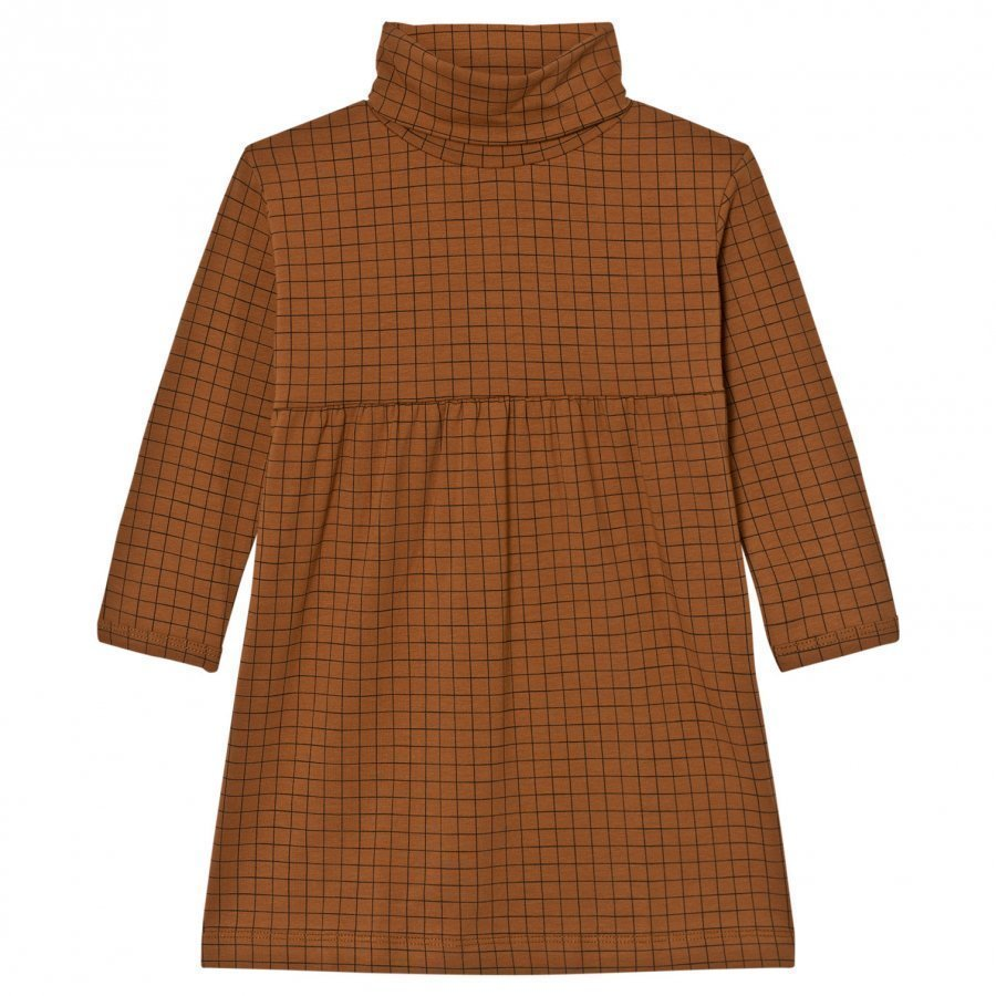 Tinycottons Grid Turtle Neck Dress Brown / Black Mekko