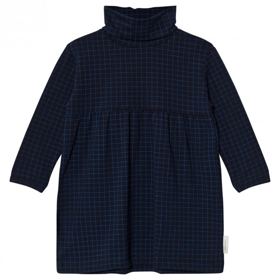 Tinycottons Grid Turtle Neck Dress Dark Navy/Blue Mekko