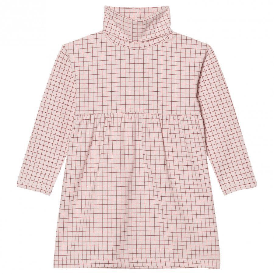 Tinycottons Grid Turtle Neck Dress Pale Pink/Red Mekko