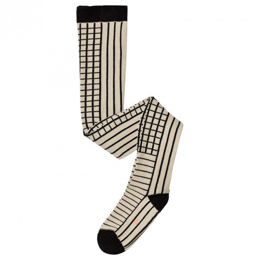 Tinycottons Lines & Grid Tights Beige/Black Sukkahousut