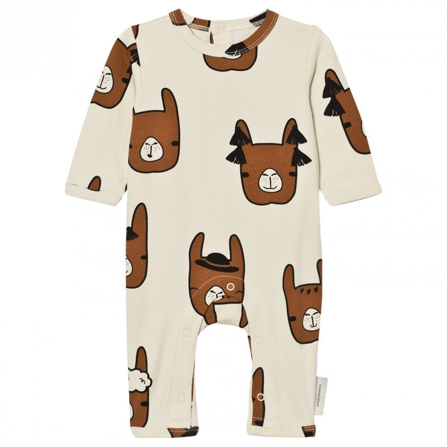 Tinycottons Llama Heads One-Piece Beige/Brown Potkupuku