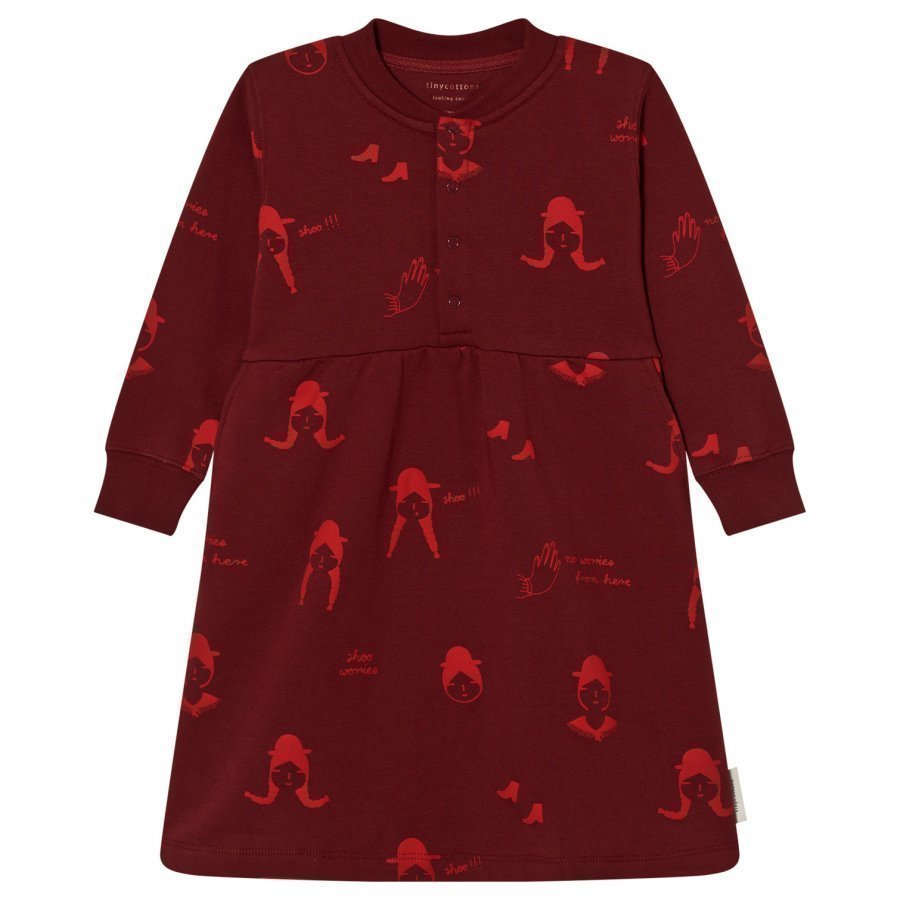 Tinycottons No-Worry Dolls Fleece Dress Bordeaux/Red Mekko