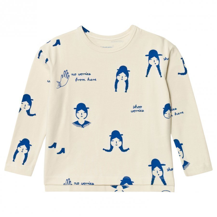 Tinycottons No-Worry Dolls Relaxed Tee Beige/Blue Pitkähihainen T-Paita