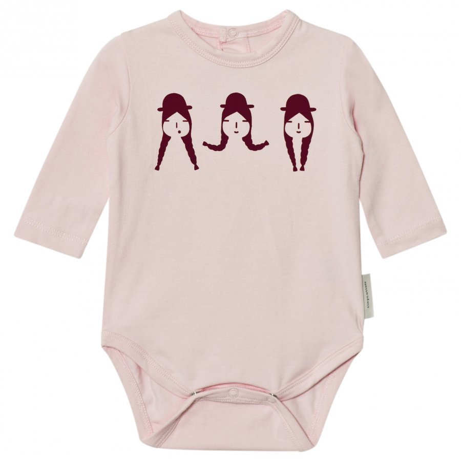 Tinycottons No-Worry Graphic Long Sleeve Baby Body Light Pink/Bordeaux Body