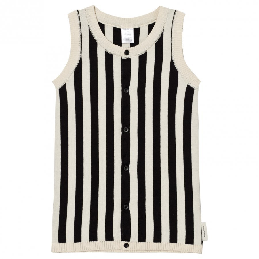 Tinycottons Stripes Knit Long Vest Beige/Black Neuleliivi