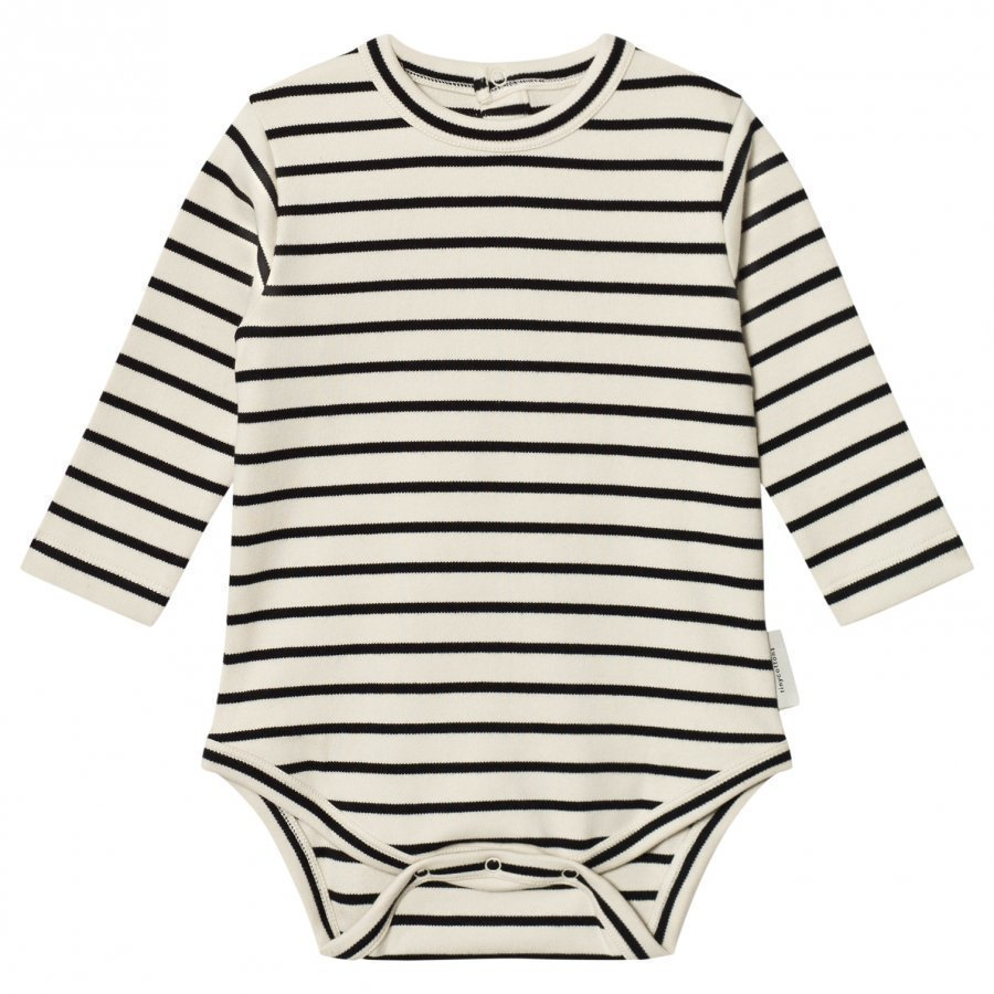 Tinycottons Stripes Long Sleeve Baby Body Beige/Black Body