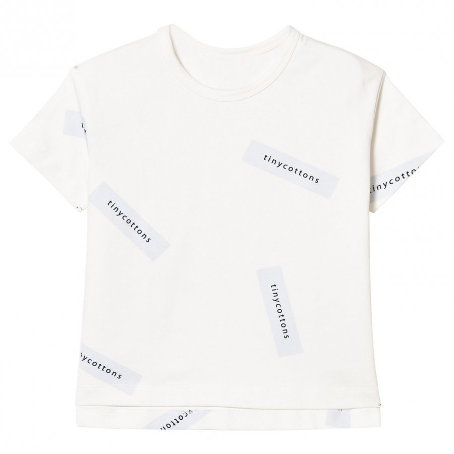 Tinycottons Tiny Logo Oversized Tee Off White/Light Blue T-Paita