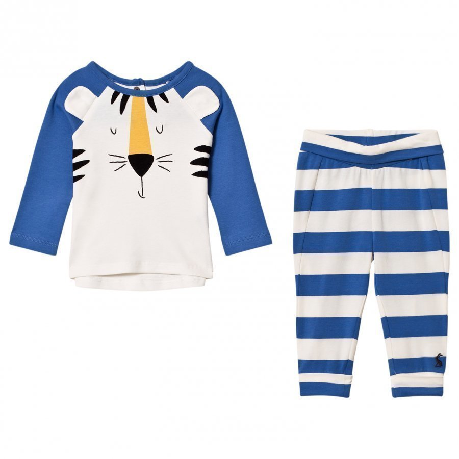 Tom Joule Blue Tiger Applique Top And Bottoms Sets Asusetti