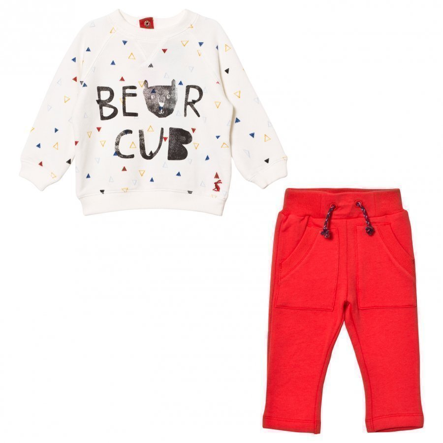 Tom Joule Cream Bear Cub Print Sweatshirt And Red Bottoms Set Asusetti