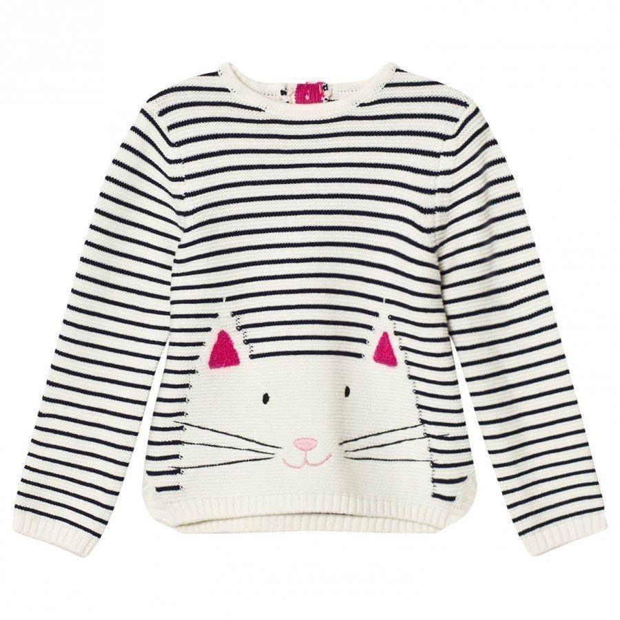 Tom Joule Cream Navy Cat Intarsia Sweater Paita