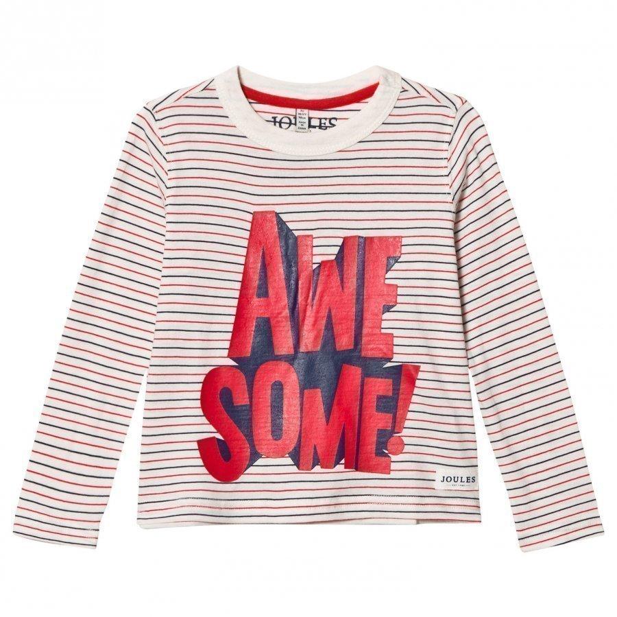Tom Joule Cream Stripe Awesome Long Sleeve Tee Pitkähihainen T-Paita