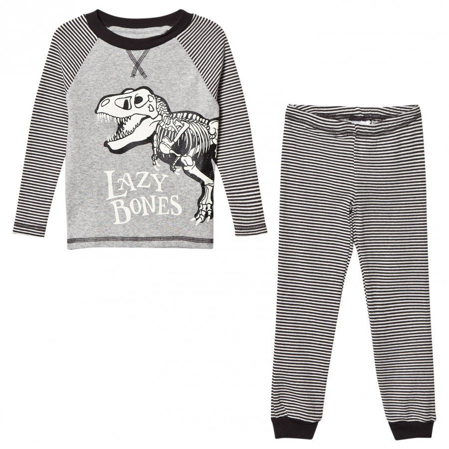 Tom Joule Dark Grey Stripe Dinosaur Pyjamas Yöpuku
