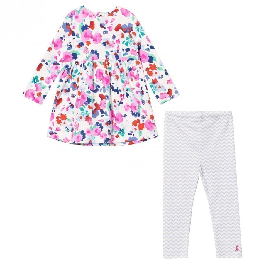 Tom Joule Floral Jersey Dress And Stripe Leggings Set Asusetti