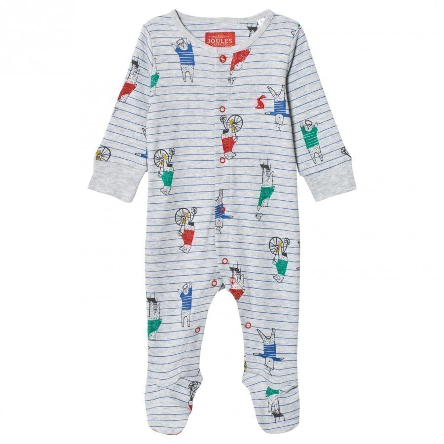 Tom Joule Footed Baby Body Grey Bear Print Body