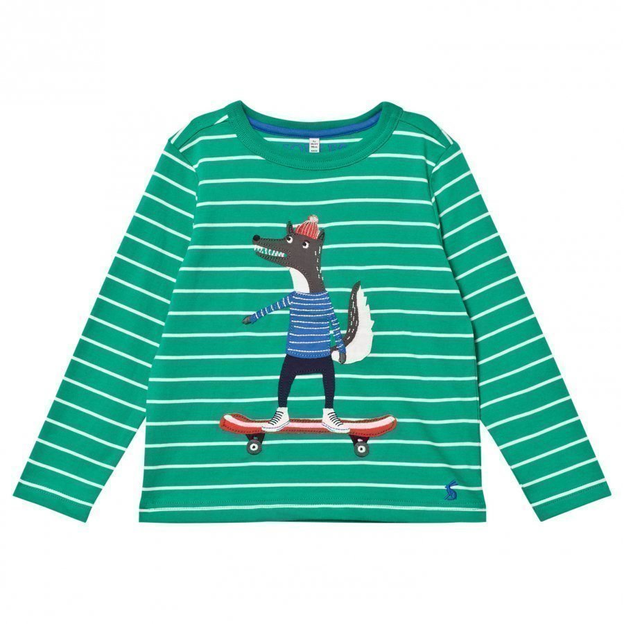 Tom Joule Green And White Stripe Skater Wolf Applique Tee Pitkähihainen T-Paita