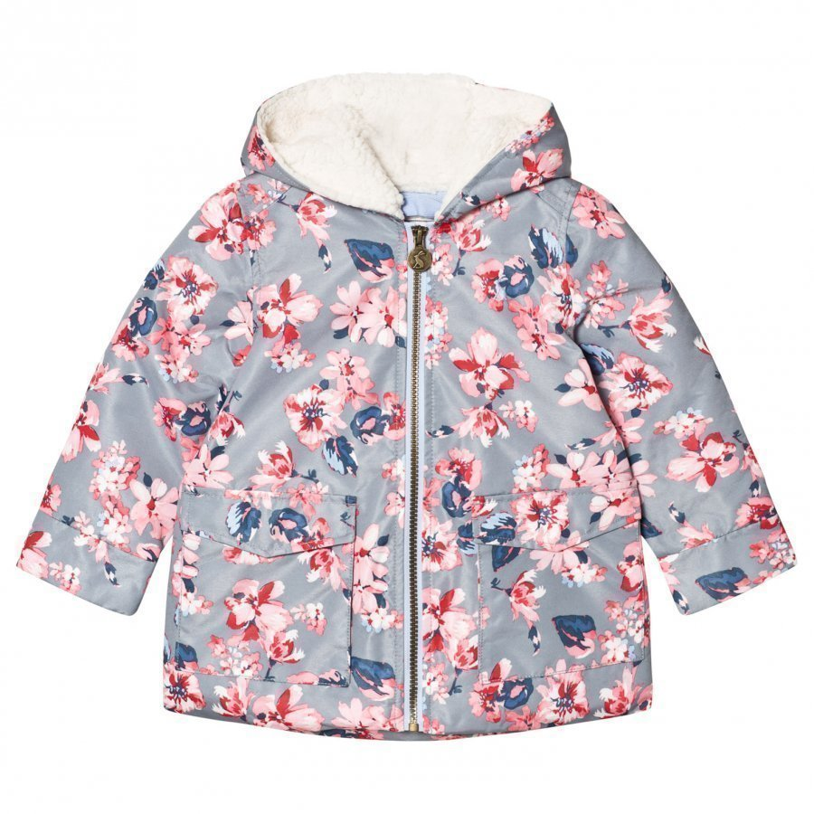 Tom Joule Grey Floral Padded Waterproof Raincoat With Fleece Lining Sadetakki