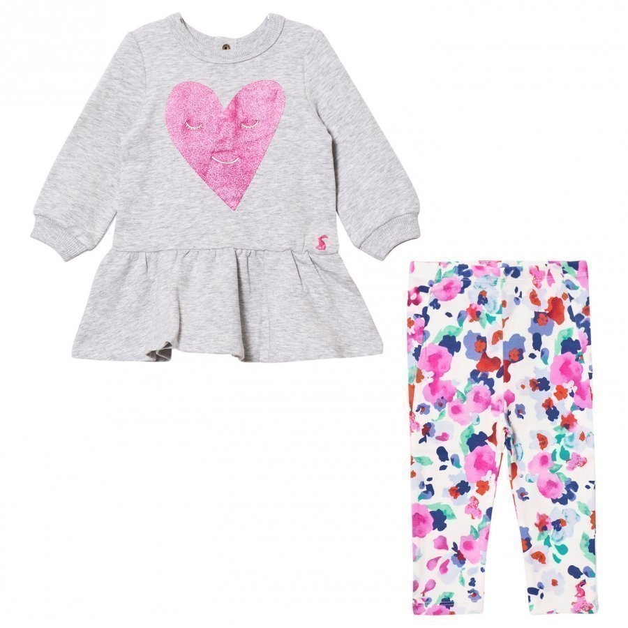 Tom Joule Grey Marl Glitter Heart Print Dress With Floral Leggings Set Asusetti
