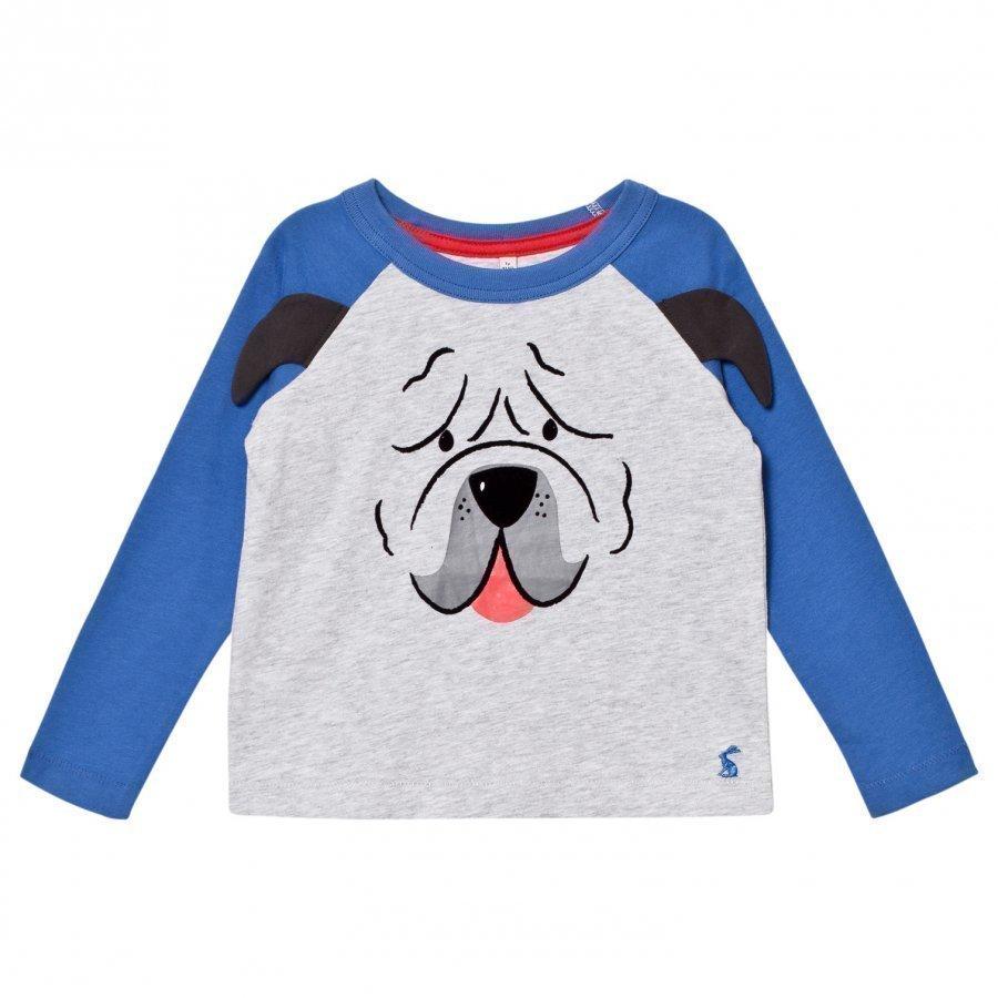 Tom Joule Grey Pug Applique Long Sleeve Tee Pitkähihainen T-Paita