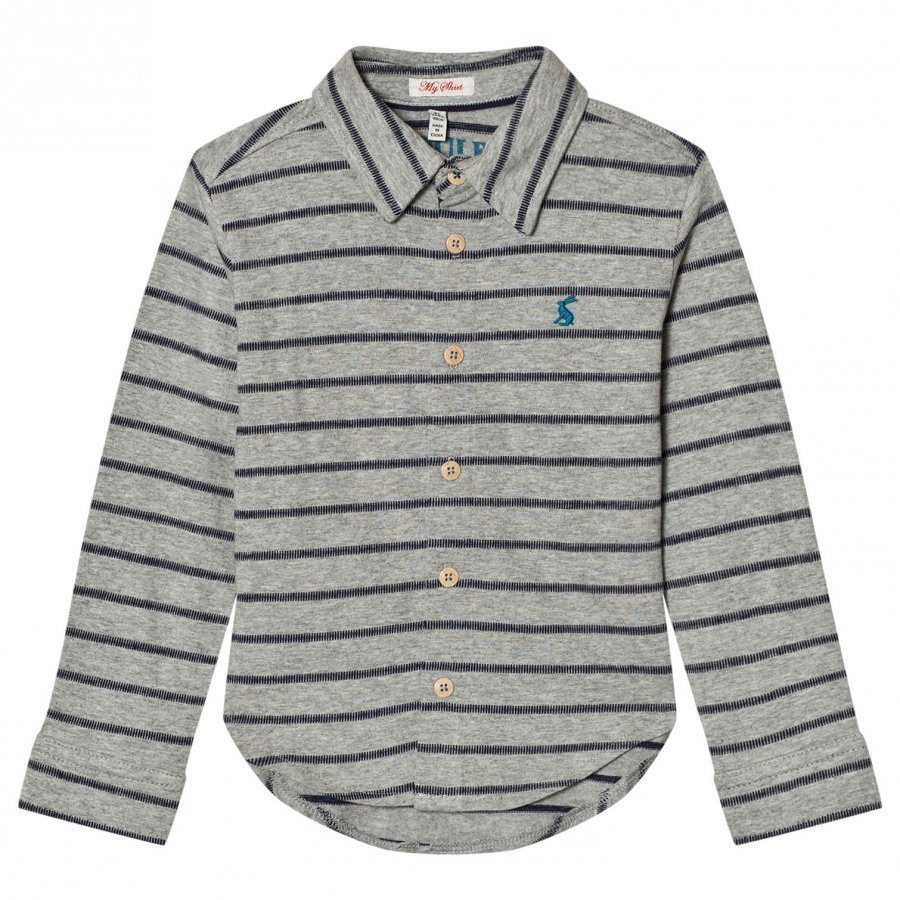 Tom Joule Grey Stripe Jersey Shirt Kauluspaita
