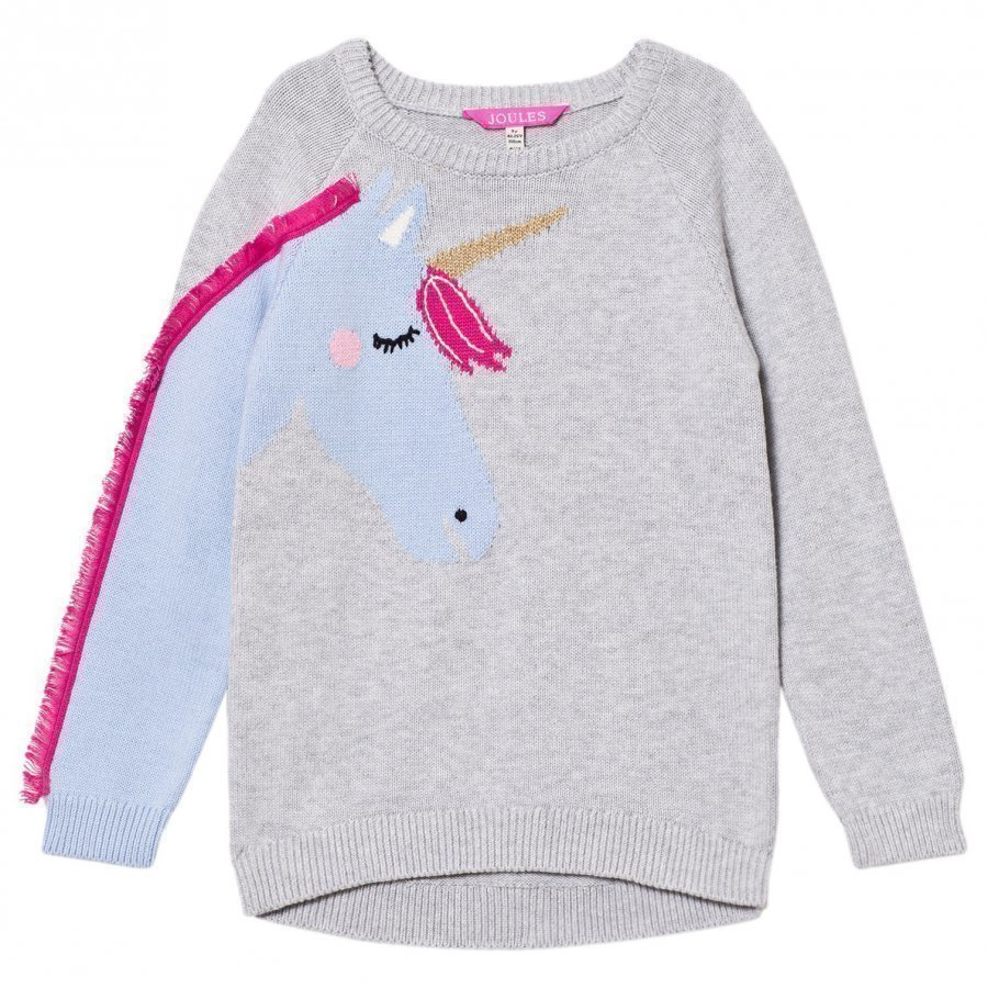 Tom Joule Grey Unicorn With Fringe On Sleeve Knit Jumper Paita