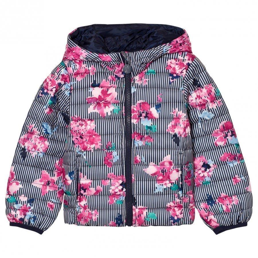 Tom Joule Multi Stripe Floral Print Packaway Puffer Jacket Toppatakki