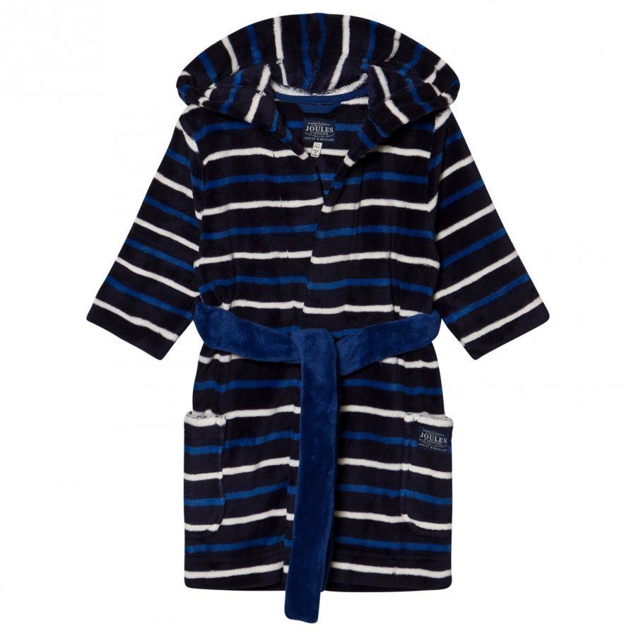 Tom Joule Navy And Blue Stripe Fleece Robe Kylpytakki