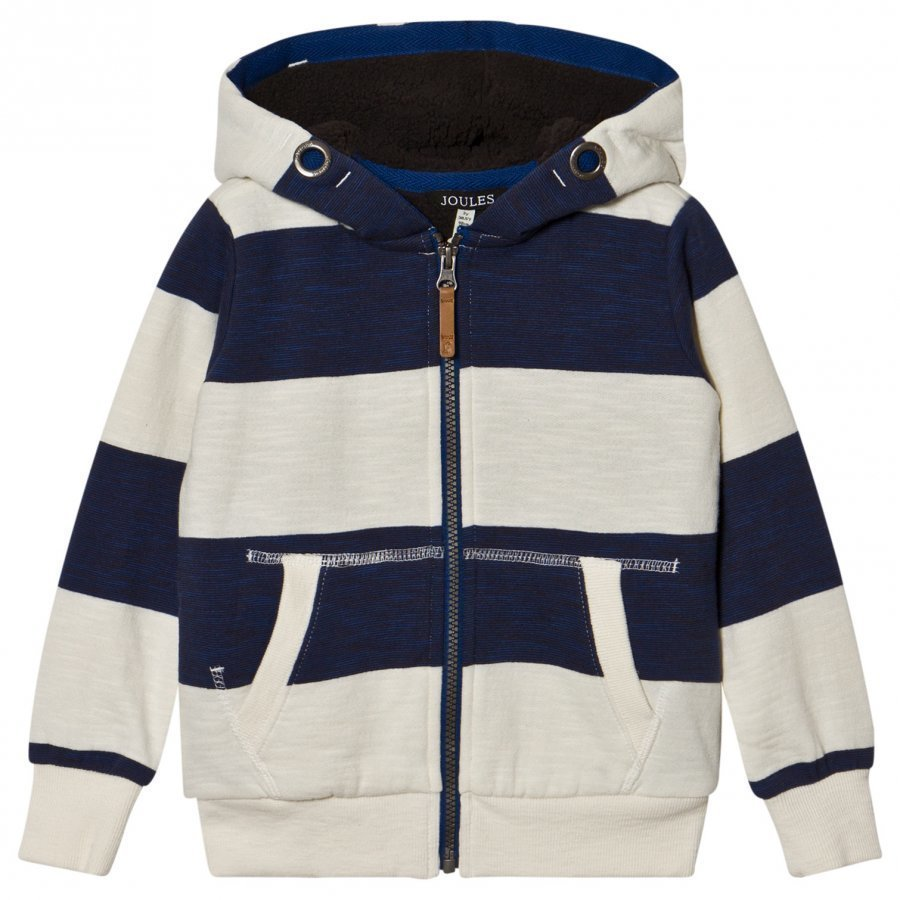 Tom Joule Navy And Ecru Stripe Teddy Lined Hoody Huppari