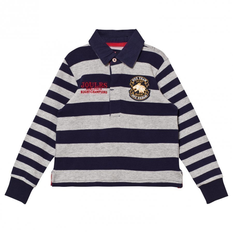 Tom Joule Navy And Grey Branded Rugby Sweater Pikeepaita